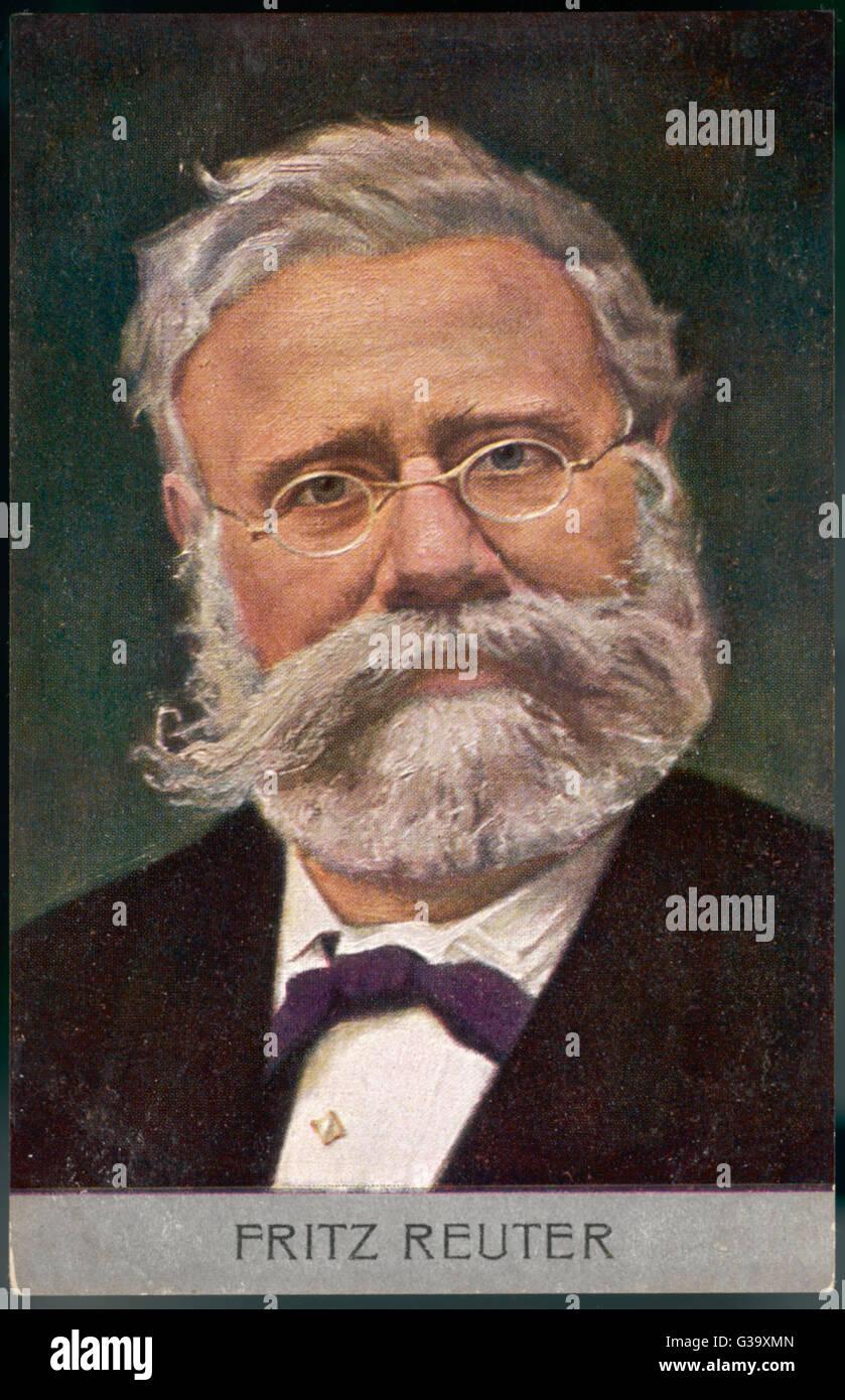 L'écrivain allemand Fritz Reuter de récits et poèmes Date: 1810 - 1874 Banque D'Images