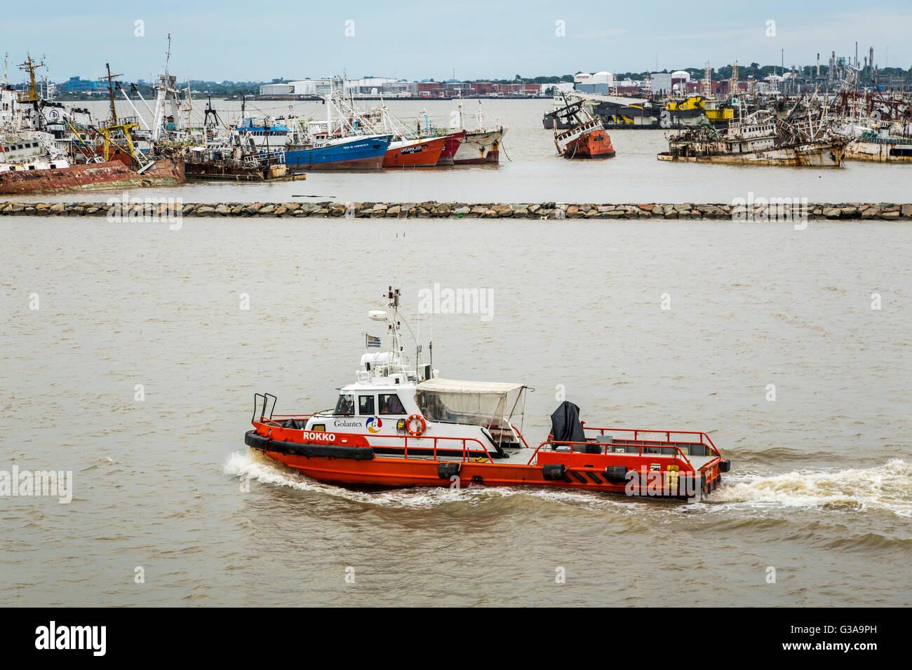 Le port de Montevideo, Uruguay, Amérique du Sud. Photo Stock