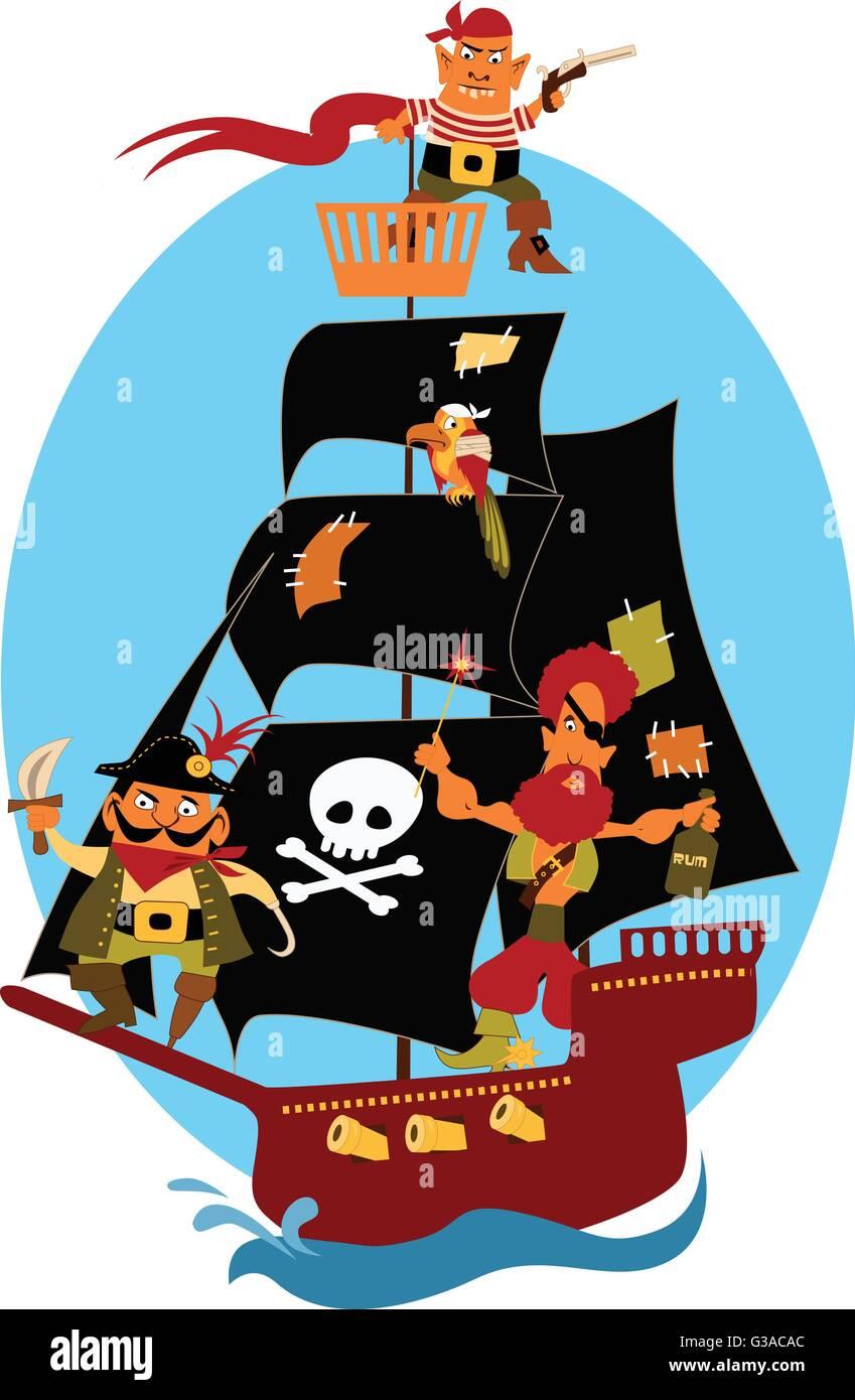 Bateau Pirate Dessin Anime Mignon Avec Les Pirates Et Un Perroquet Naviguant Sous Voiles Noirs Image Vectorielle Stock Alamy