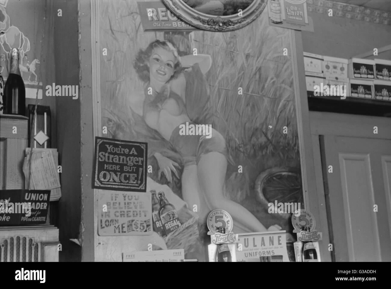 Sign in country store près de vacherie, en Louisiane. Septembre 1938 Date Banque D'Images