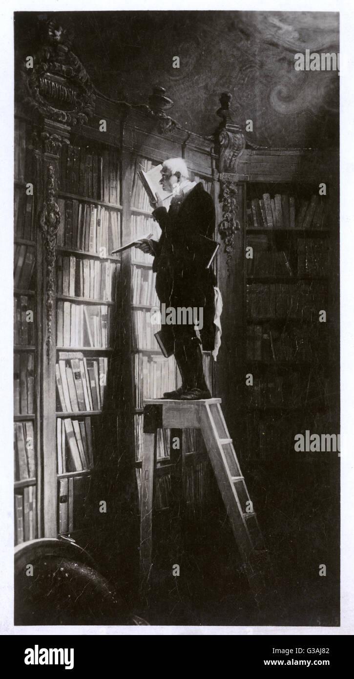 """Une reproduction en monochromie de Carl Spitzweg's 'La Bookroom"""" qui montre une emersed bookworm âgées dans la recherche. Date: 1850 Banque D'Images"""