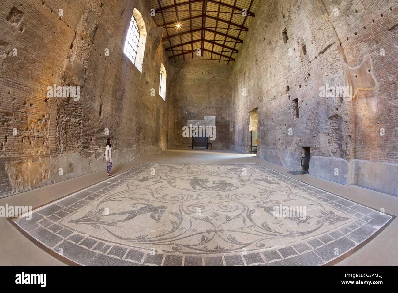 La mosaïque d'hercule, thermes de Dioclétien, le Musée National de Rome, Italie Photo Stock
