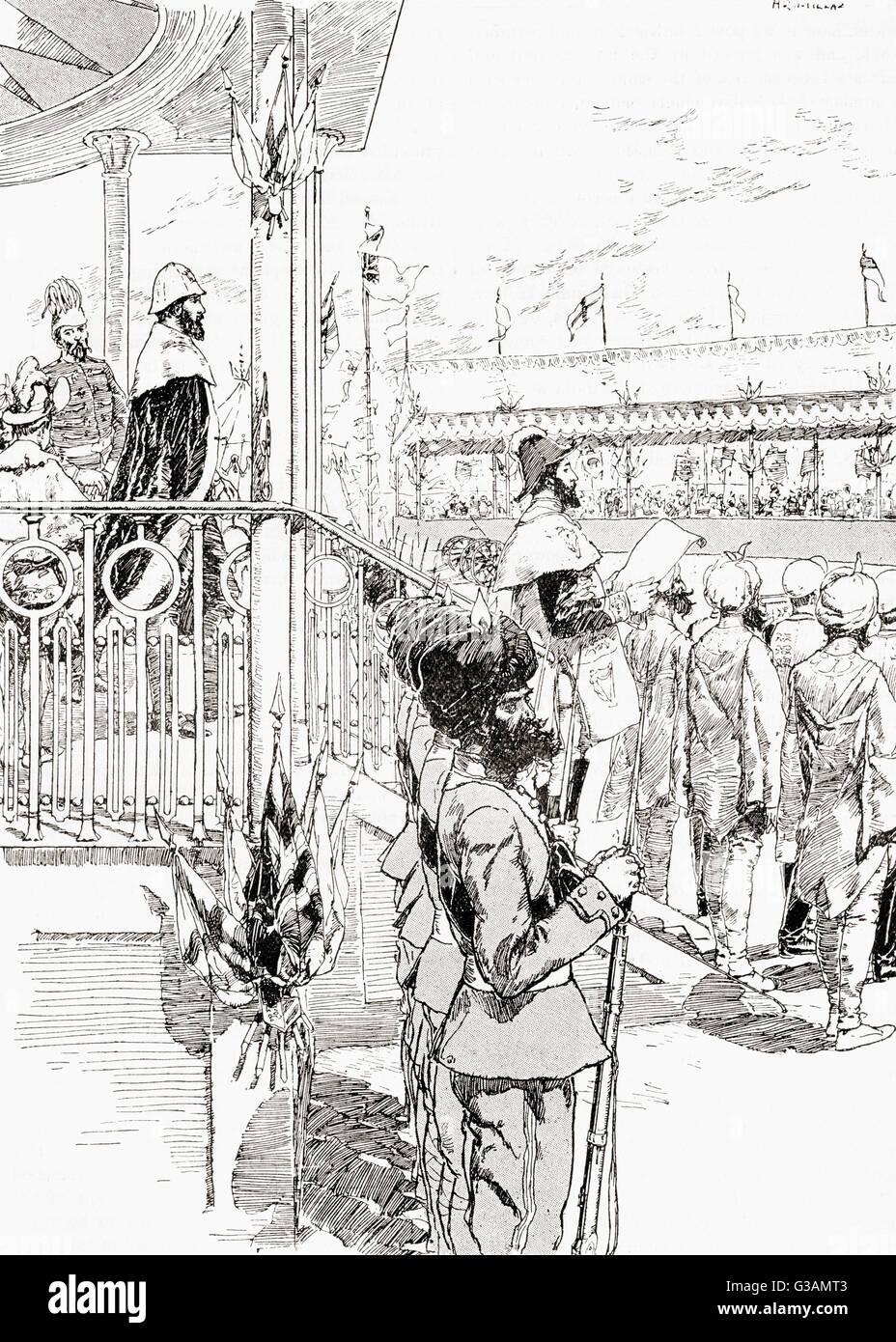 Le vice-roi de l'Inde, Robert Bulwer-Lytton, 1er comte de Lytton, la proclamation de la reine Victoria Impératrice de l'Inde, Delhi, Inde, 1877. Banque D'Images