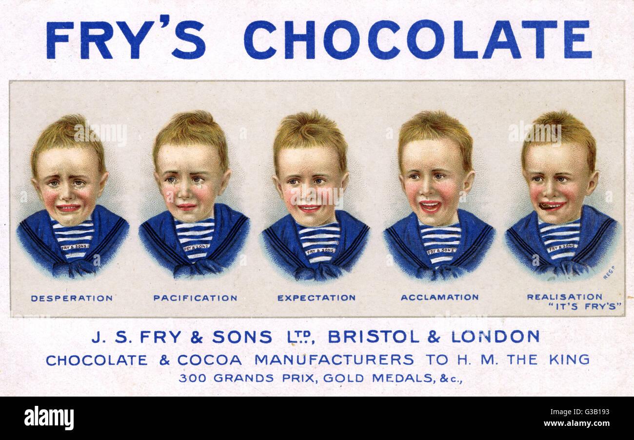 Fry's cinq garçons au chocolat - désespoir, la pacification, attente, Acclamation, réalisation Photo Stock