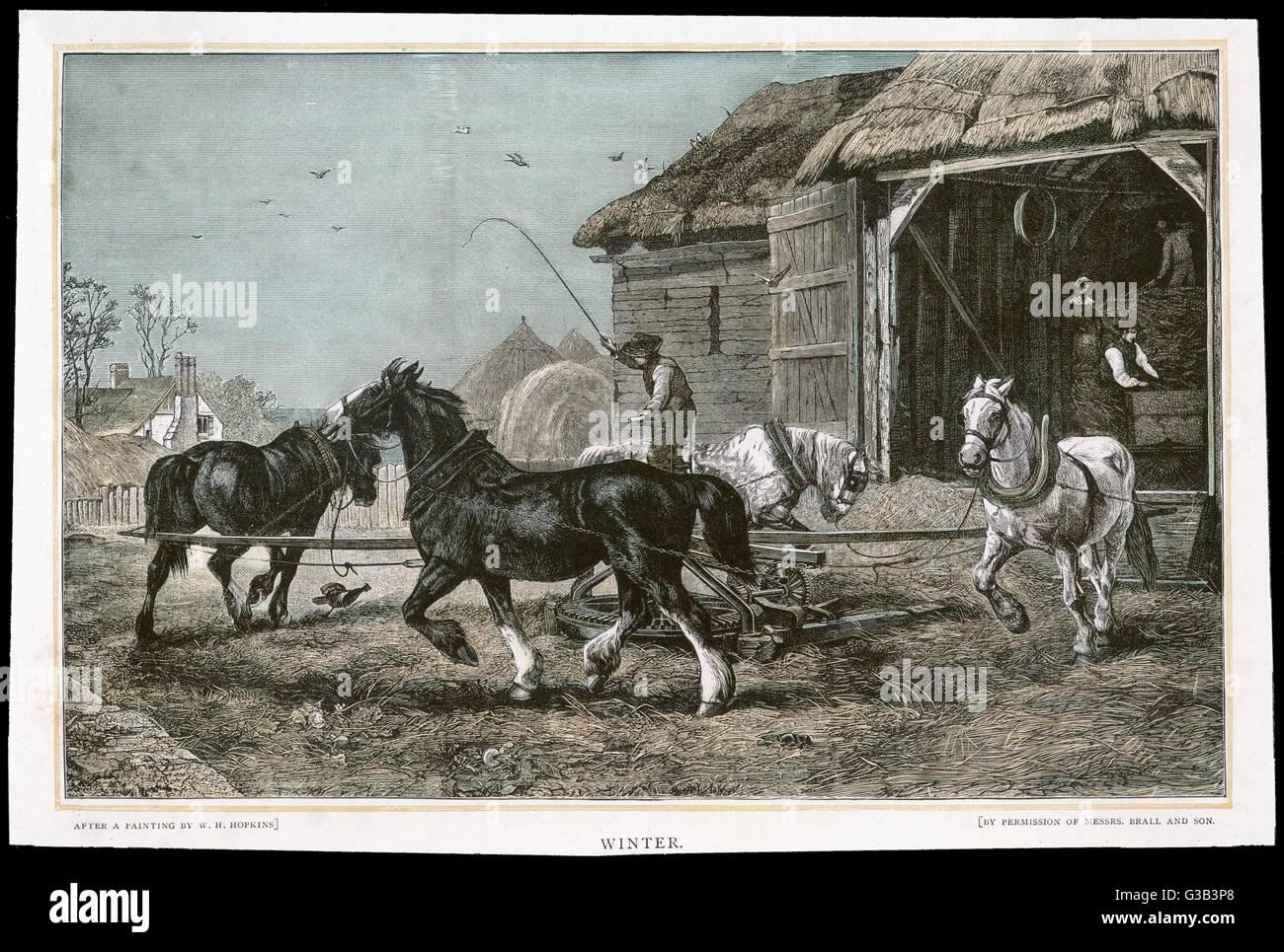 Tourner la roue de chevaux un simple batteuse Date: 1882 Photo Stock