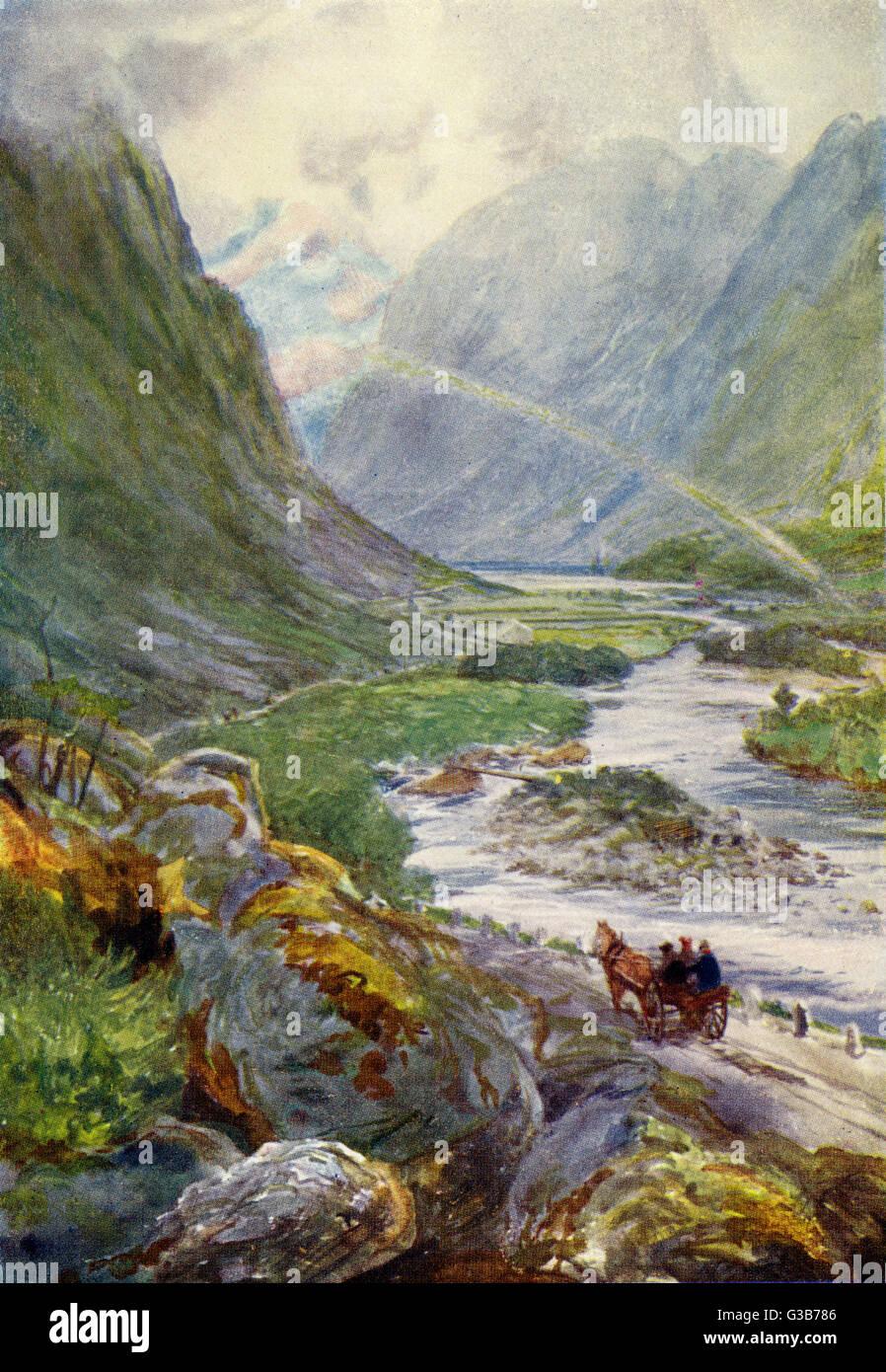 Naerodal: un paysage rocheux Date: 1909 Photo Stock