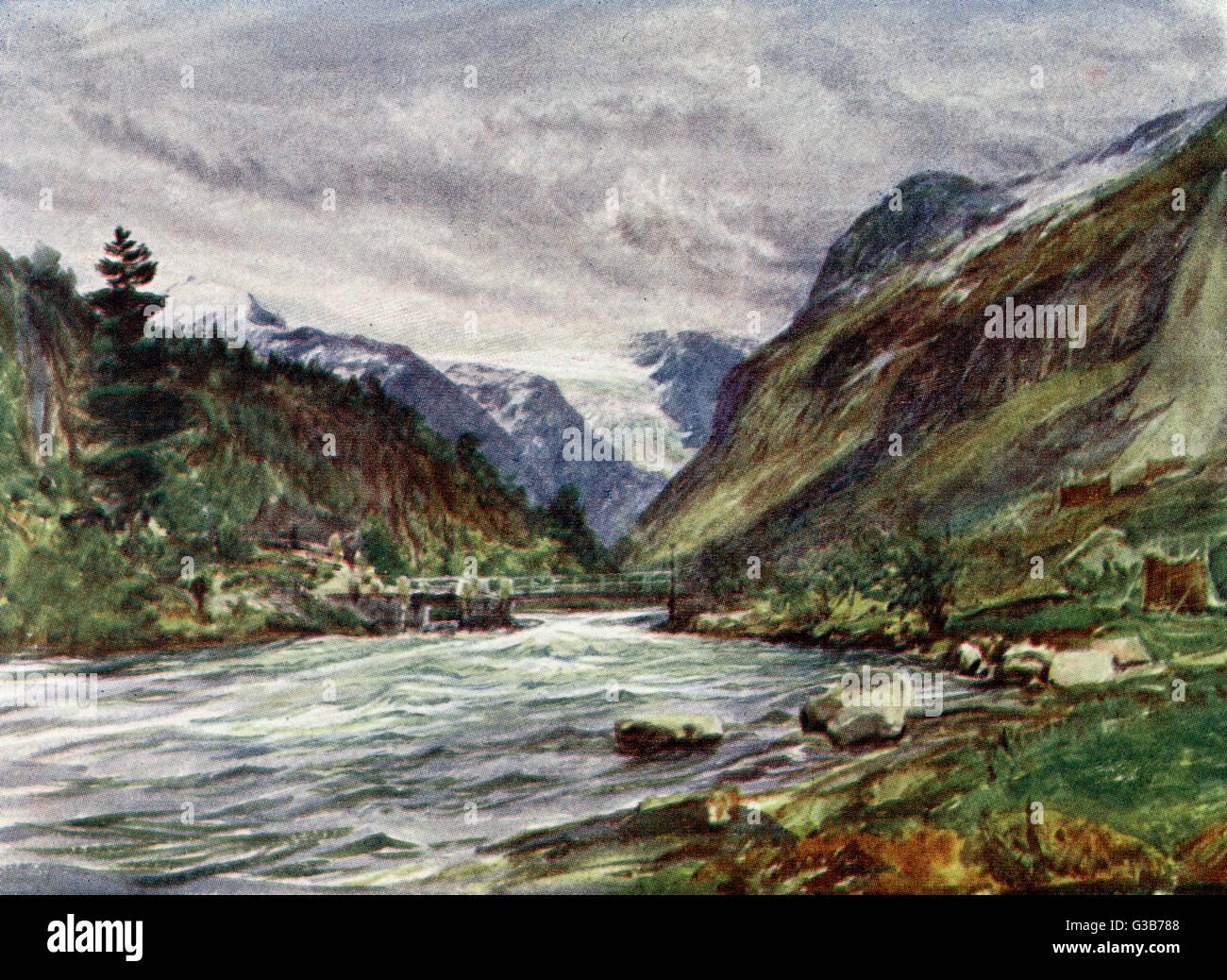 Elv Loen: un paysage rocheux Date: 1909 Photo Stock