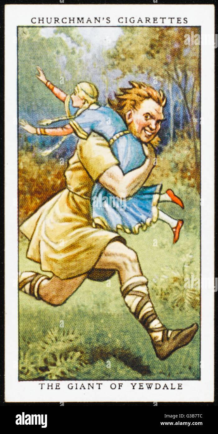 Le grand géant des Tarns kidnappe Barbara, la femme de chambre de lady Eva le Fleming. S'il est piégé, Photo Stock