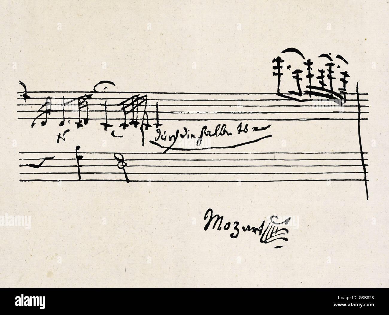 83cc8e0b117b Une cadence - avec la signature de Mozart Banque D Images