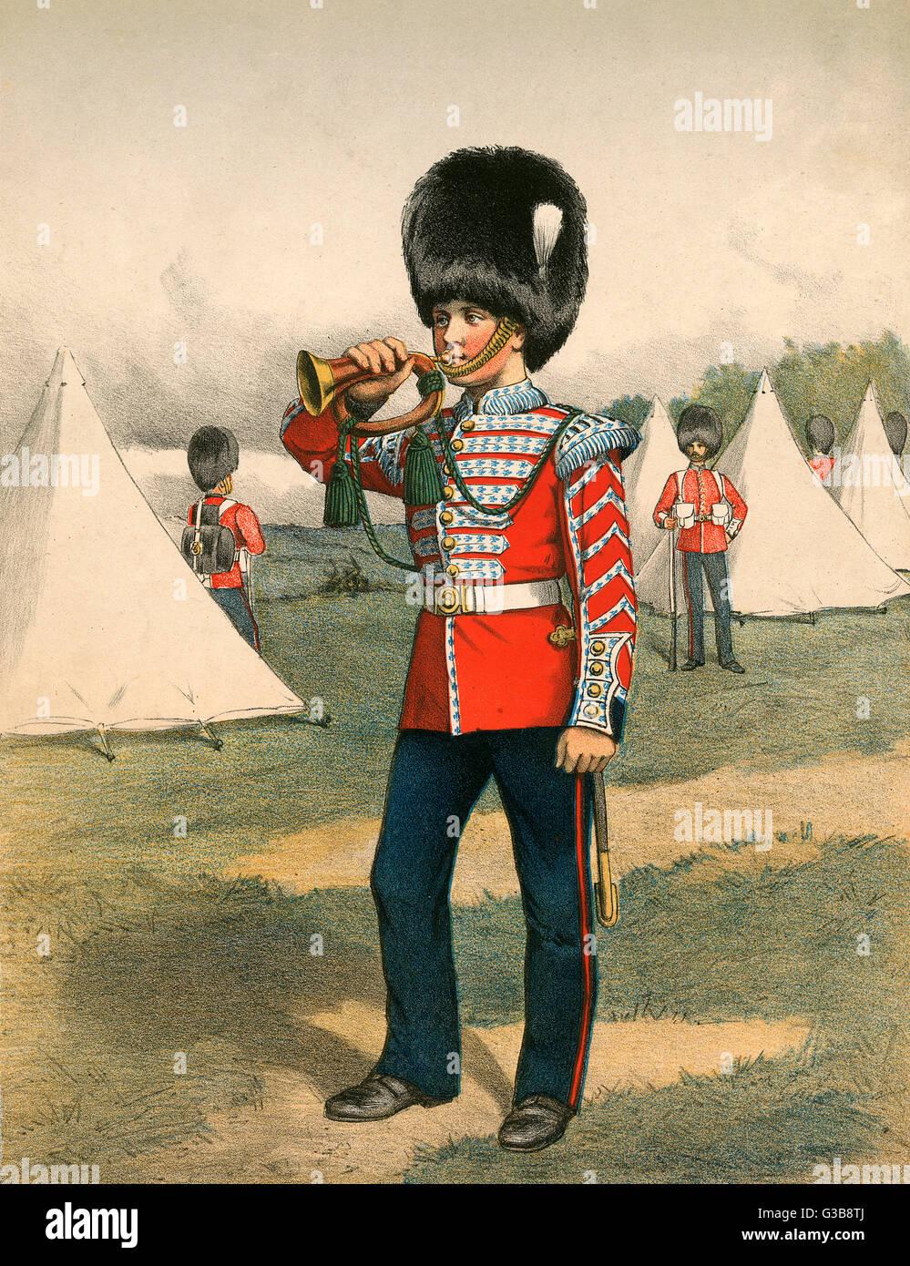 Une armée rouses clairon ses camarades dans un camp militaire. Date: vers 1870 Photo Stock