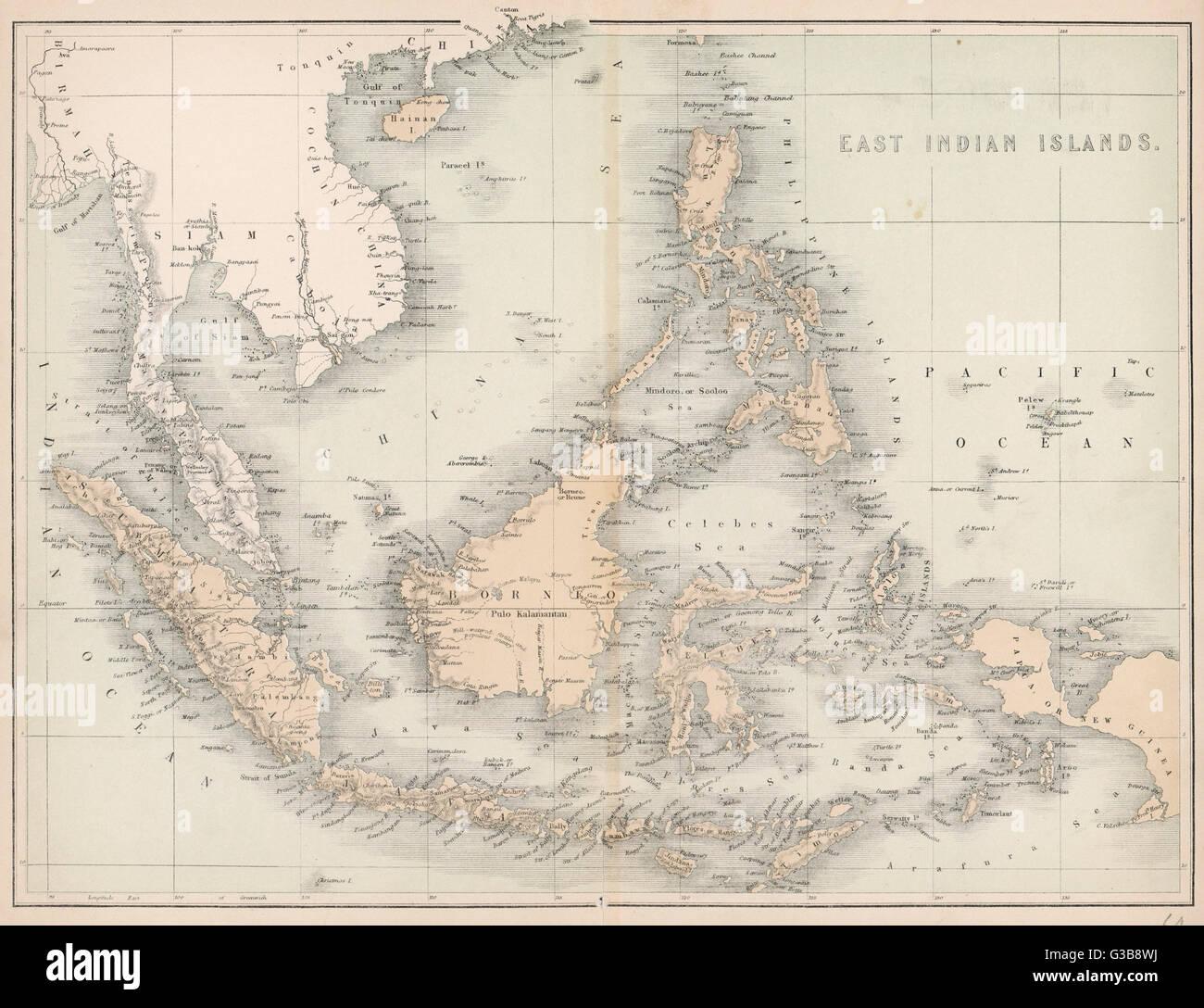 Carte De Linde De Lest.Carte De L Est De L Inde Y Compris Iles Celebes Borneo