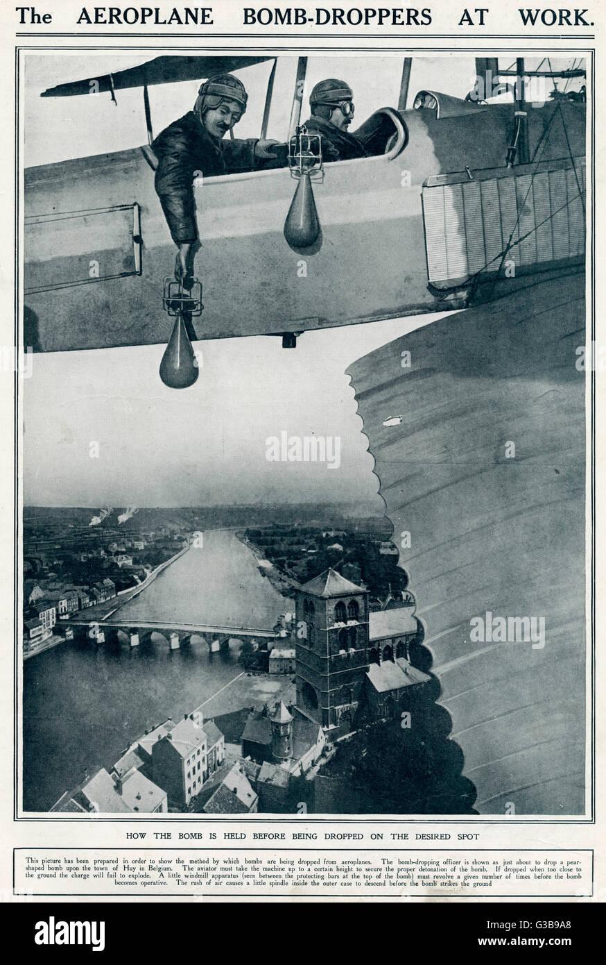 Au début de la guerre, la technique de bombes était primitive, et même voler à basse altitude, la précision était Banque D'Images