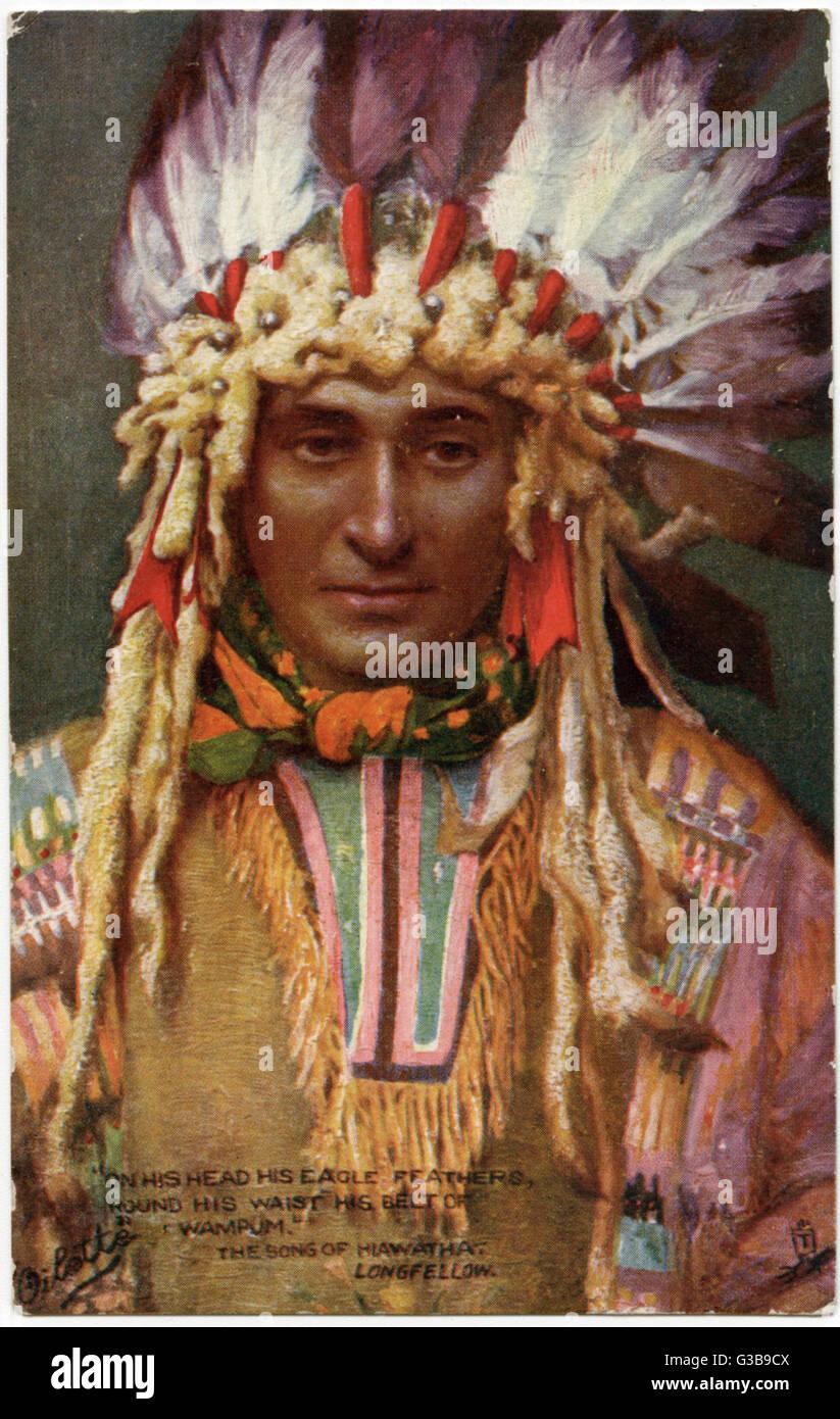 Chef Iroquois Portant Une Coiffure De Ceremonie Pour Illustrer La