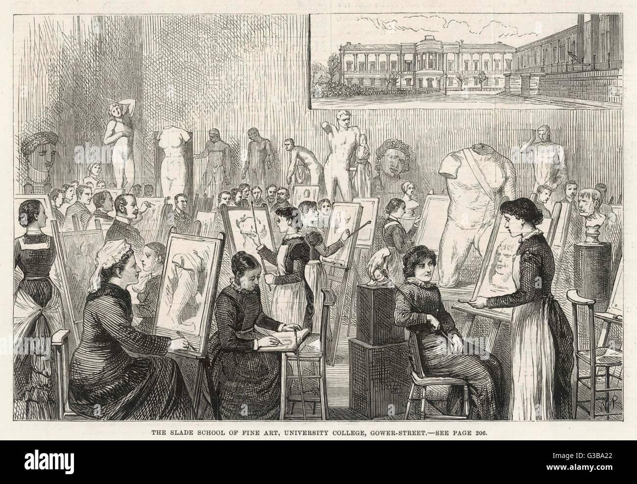 Encore une classe de la vie à la Slade School of Fine Art, University College, Londres Date: 1881 Photo Stock