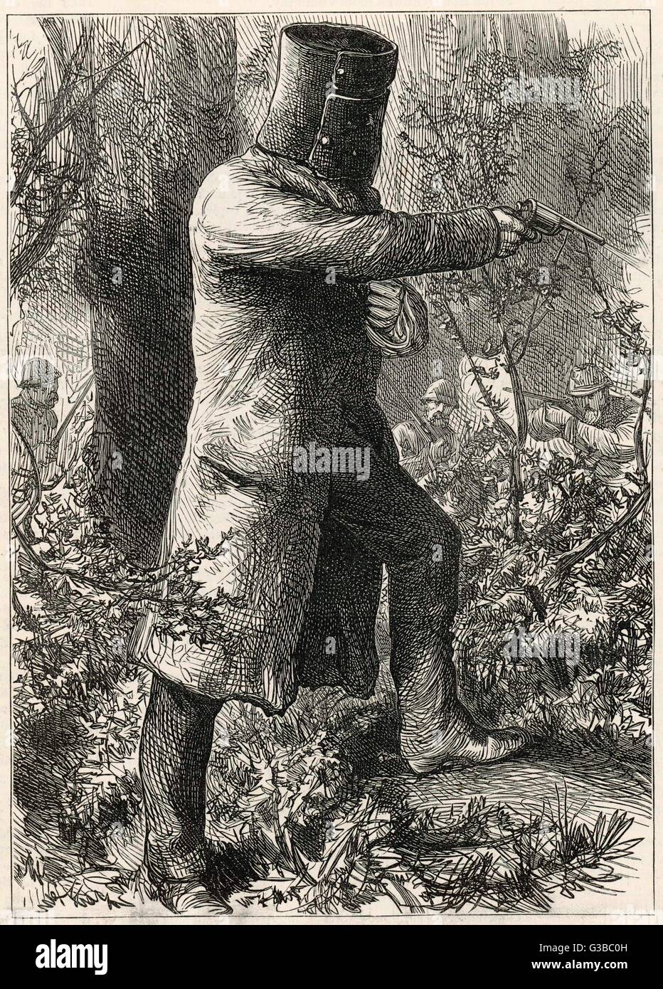 Ned Kelly, légende australienne, fait son dernier combat. Date: 1880 Photo Stock