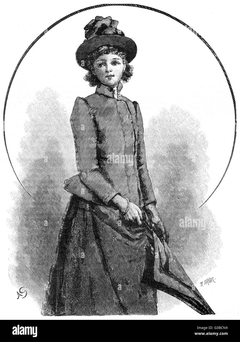 Jeune femme en robe victorienne en plein air. Date: 1890 Banque D'Images
