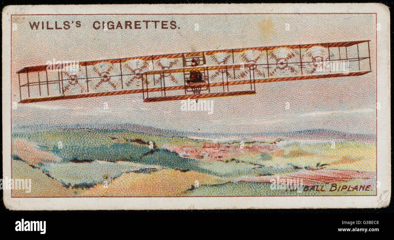 Designer américain Kimball's d'un biplan est remarquable pour l'utilisation de huit hélices, s'ils sont entraînés par un seul moteur. L'avion vole, d'une certaine façon, mais il y a des problèmes. Date: 1909 Banque D'Images