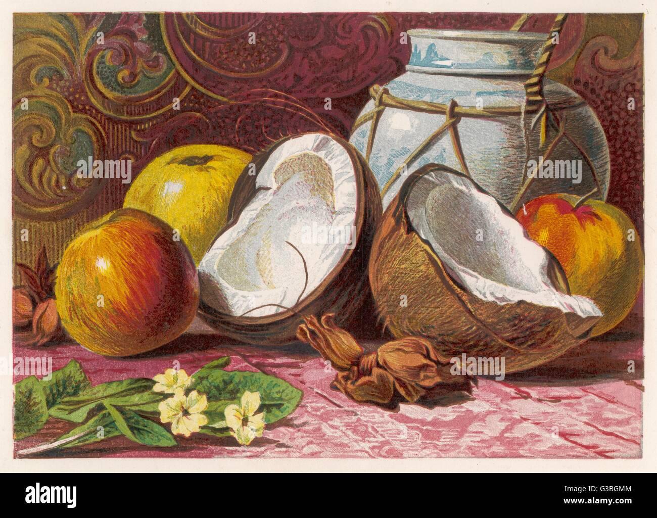 Une nature morte montrant une noix de coco - coupés en deux et quelques pommes. Date: 1861 Photo Stock