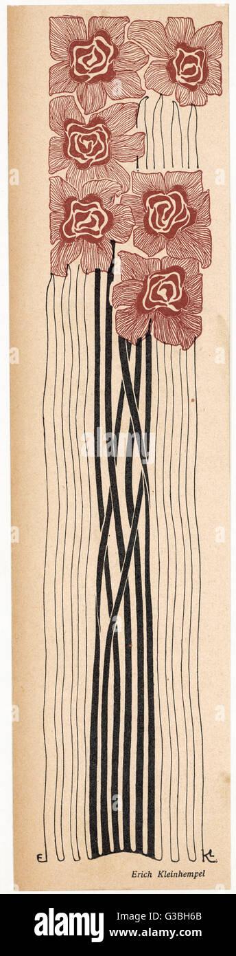 Un Motif Art Nouveau Decoratif Des Fleurs A Tiges Longues En Brun Et