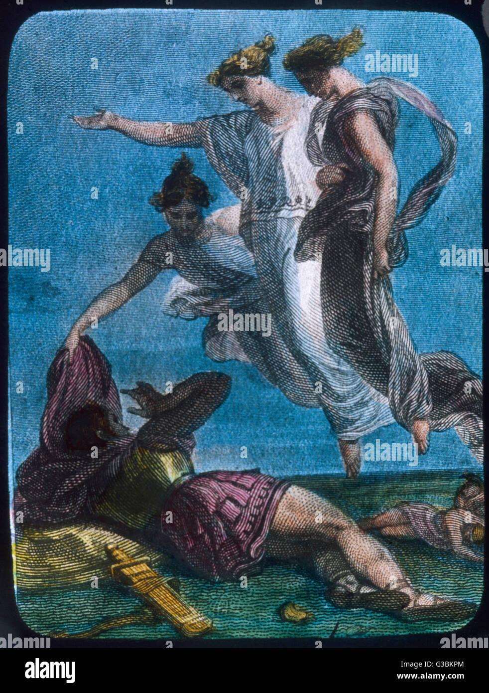 Conte de l'origine: Nymphes en légende classique tendent un guerrier tombé. Photo Stock