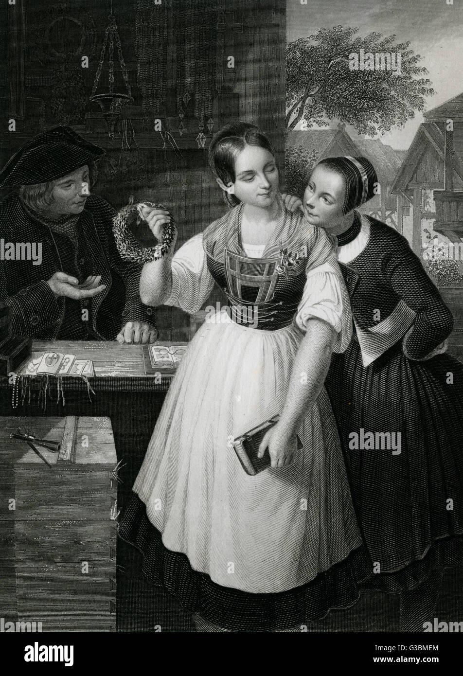 Une country girl achète une couronne nuptiale. Date: début du 19ème siècle Photo Stock