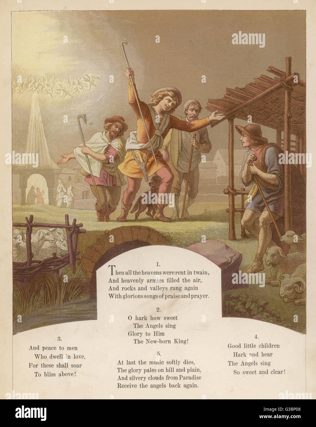 Les armées célestes des anges chante gloire au Roi nouveau-né tandis que les bergers répandre Photo Stock