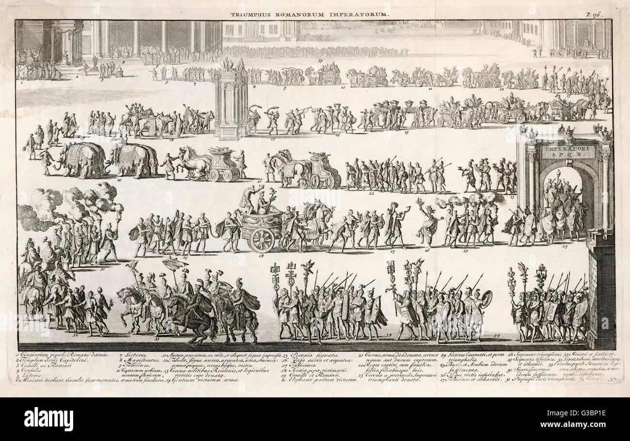 Une procession triomphale romaine générique qui inclut l'empereur sur son char, éléphants, Photo Stock