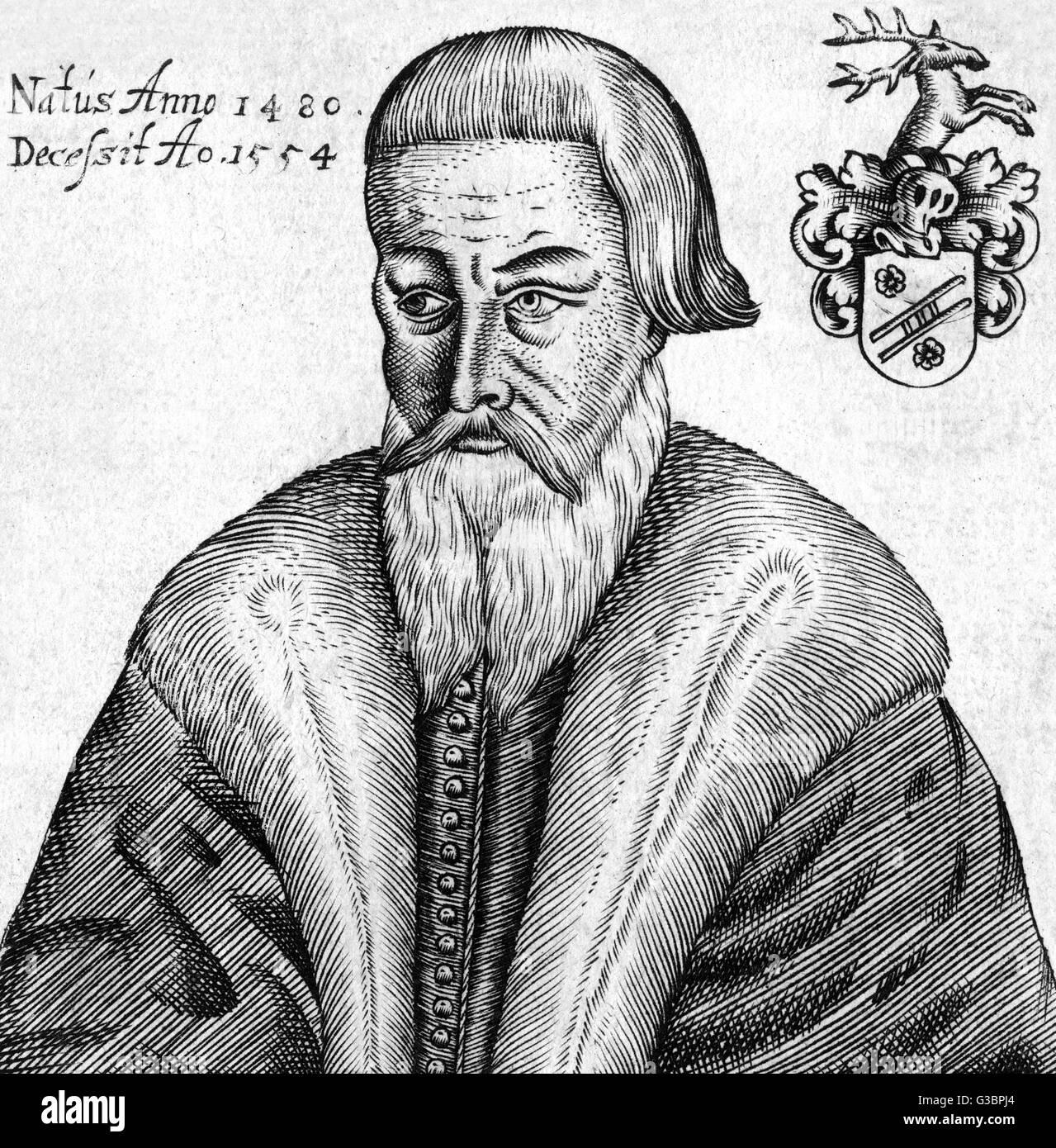 Jérôme SCHURFF juriste et homme d'État suisse Date: 1481 - 1554 Photo Stock