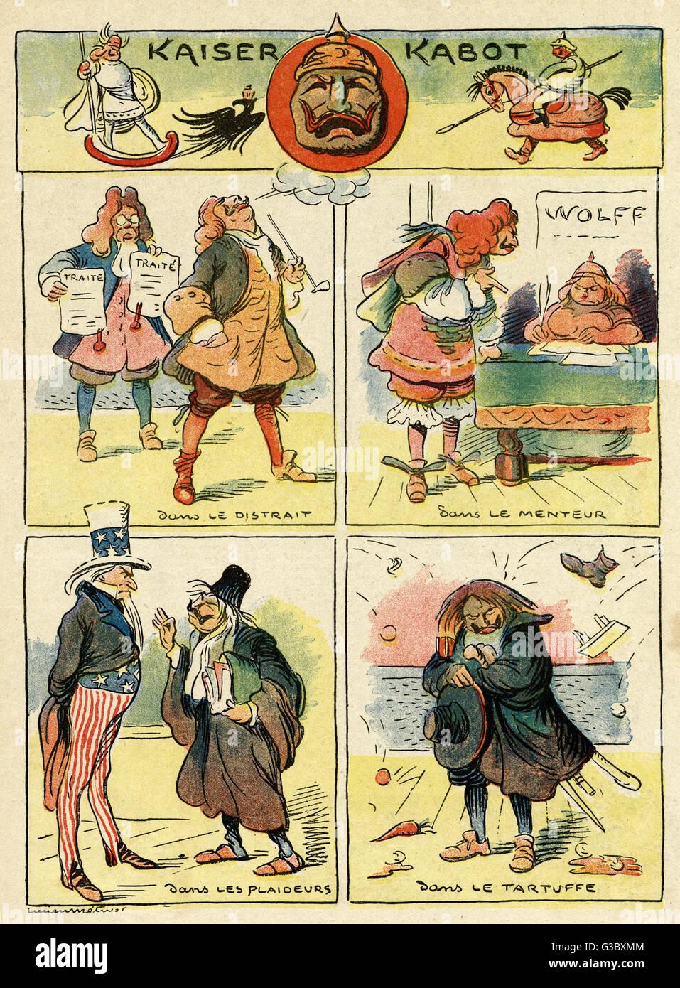 Cartoon, Kaiser Kabot (Kaiser Wilhelm II, le jambon), avec l'acteur allemand Kaiser en quatre différents Photo Stock
