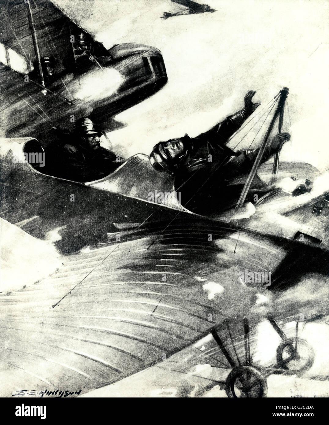 WW1 - deux biplans militaires dans un combat aérien, où Von Falkenhayn est tué par un mitrailleur vu dans l'avion ennemi à partir de ci-dessus. Un bel exemple de Von Falkenayn's derniers moments dans l'action. Date: 1915 Banque D'Images