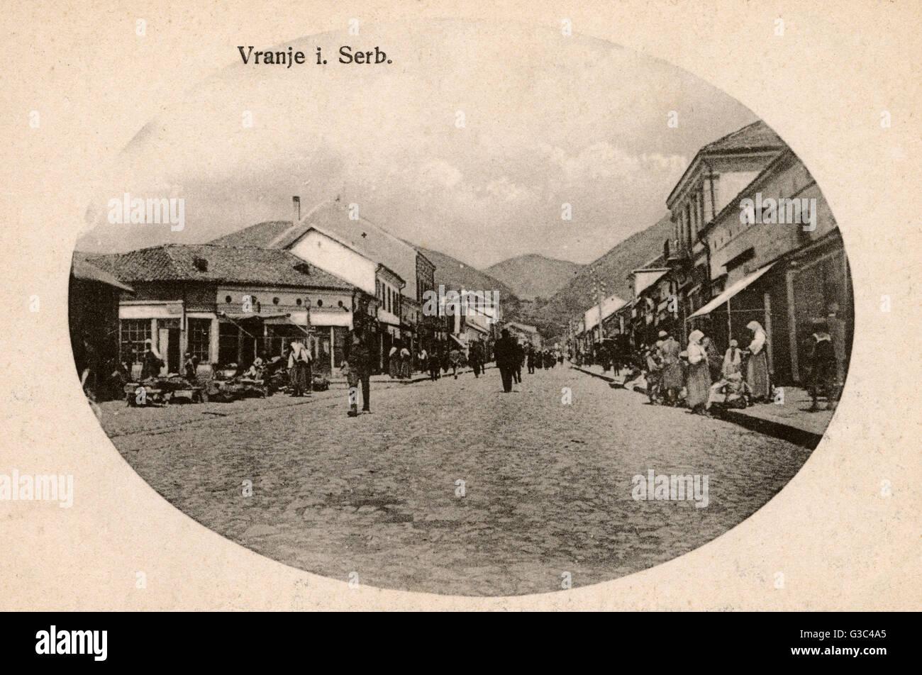 Serbie - Ub, le centre administratif de la Pcinja District. Scène de rue. Date: vers 1910 Banque D'Images
