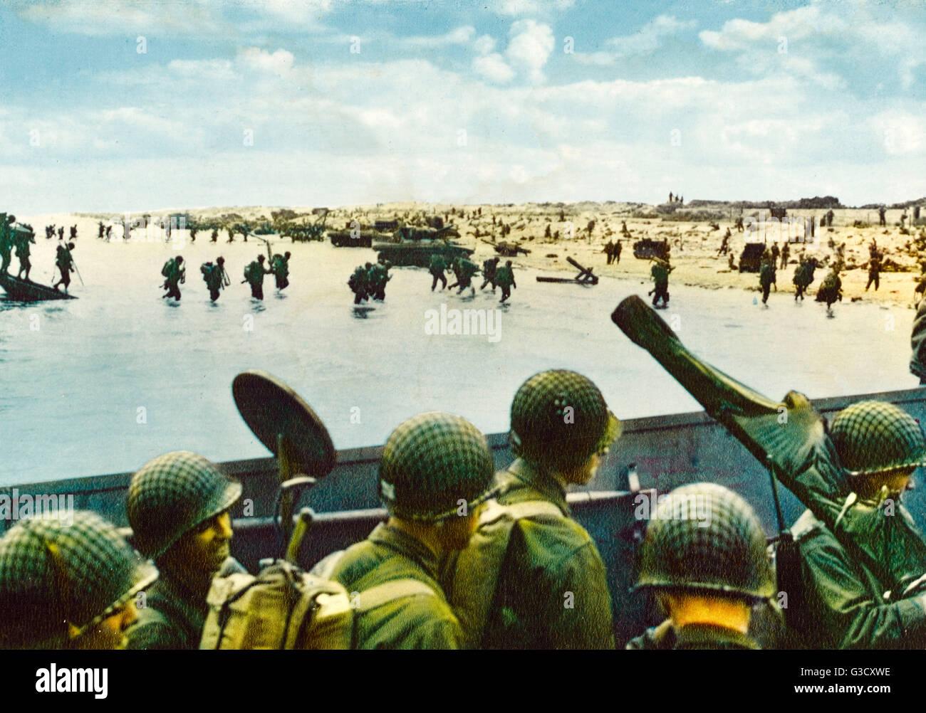 Debarquement De Normandie 6 Juin 1944 Ww2 Remarque Le Soldat Americain Dans Le Landing Craft Tenant Un Detecteur De Metal A Balayer Pour Les Mines Date 1944 Photo Stock Alamy