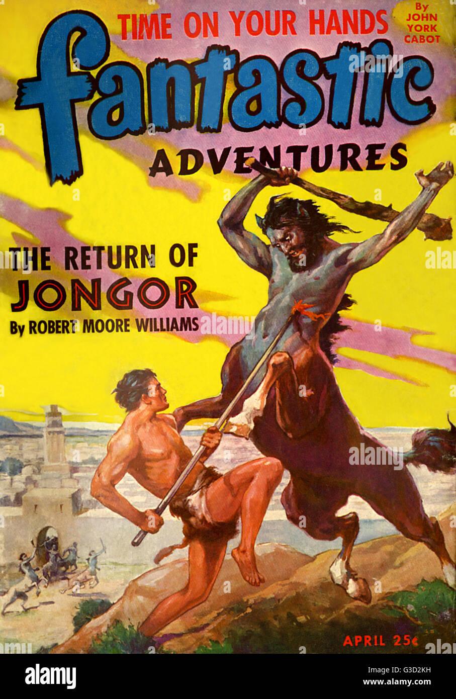 Couvert d'aventures fantastiques, avril 1944, avec l'article 'Le retour des Jongor' par Robert Moore Williams. Un Banque D'Images