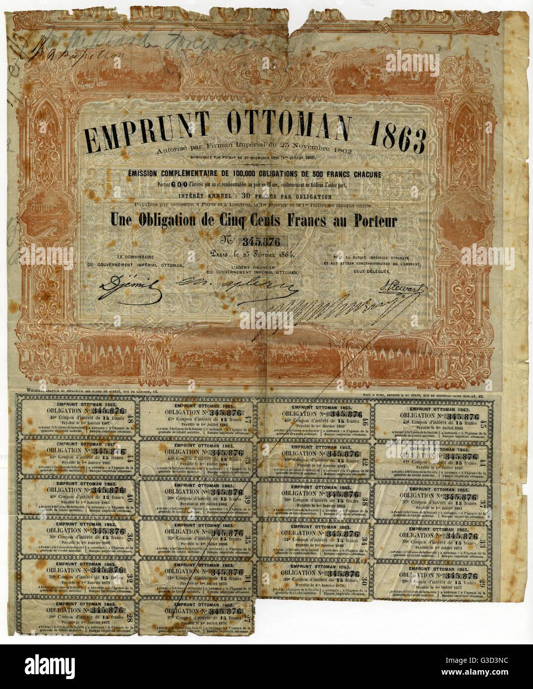 Obligation au porteur de l'Empire Ottoman. Date: 1863 Photo Stock