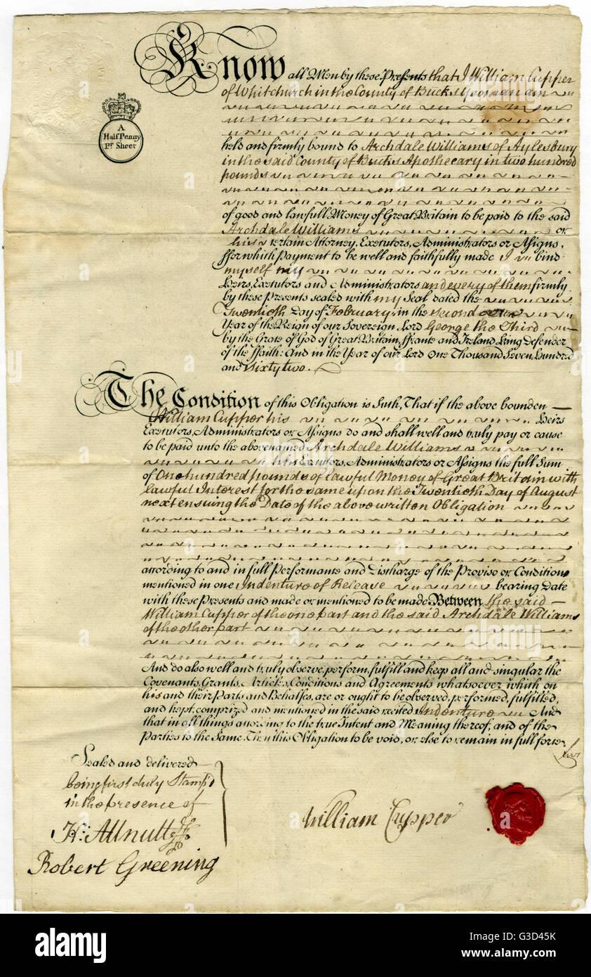 Un 18e siècle à partir d'obligations hypothécaires Mr William Cupper à Archdale Williams. Photo Stock