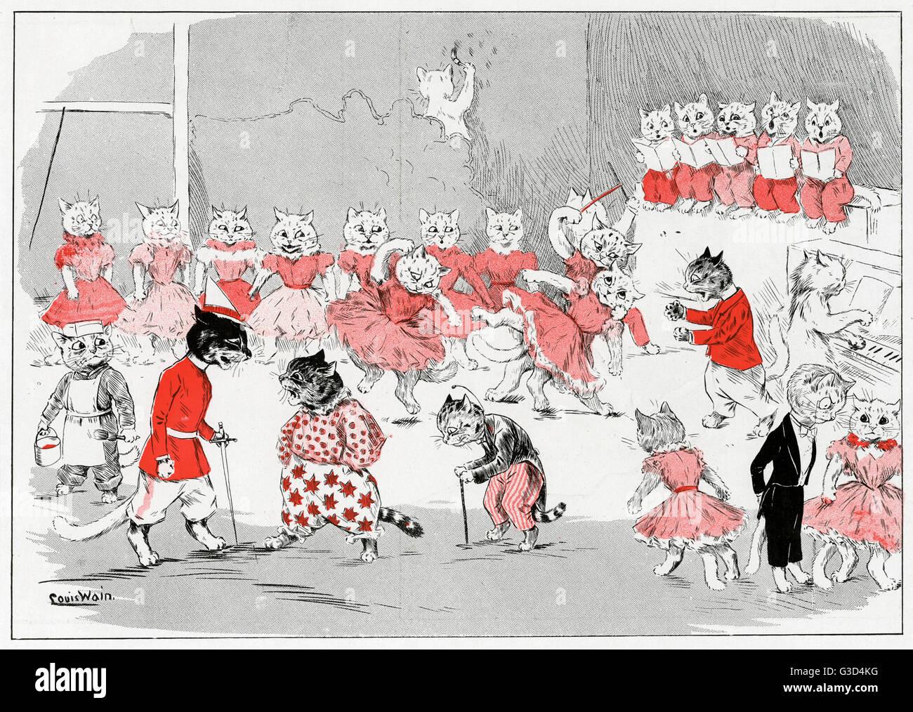 Les chats habillés comme des humains répéter une pantomime. 1898 Photo Stock