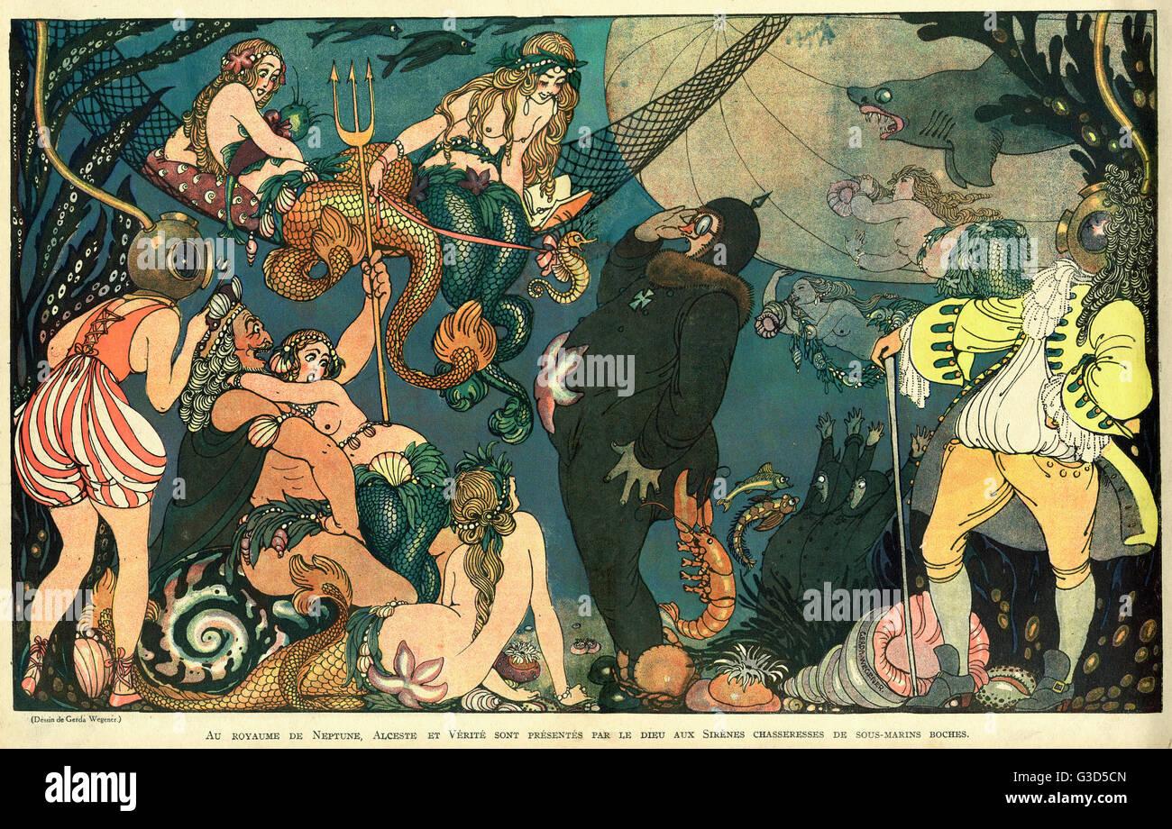 Dessin animé, la mythologie sous-marine. Dans le Royaume de Neptune, Alceste et la vérité sont introduites Photo Stock