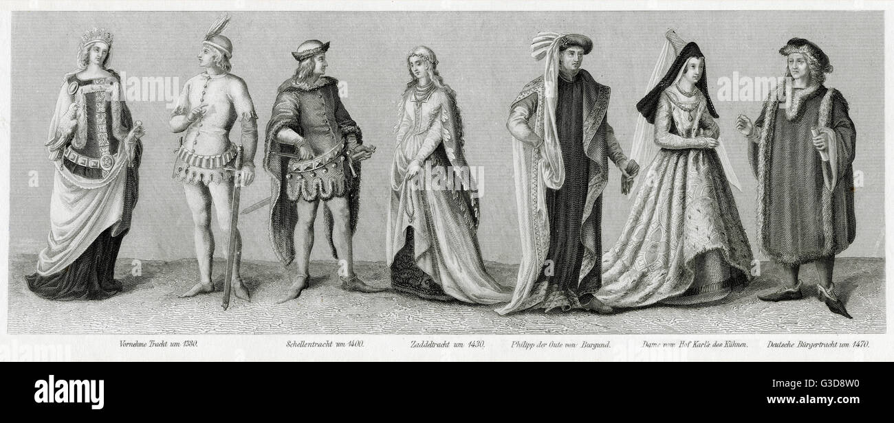 Costume médiéval, montrant diverses personnes dans la classe moyenne et aristocratique de l'habillement. De gauche Banque D'Images