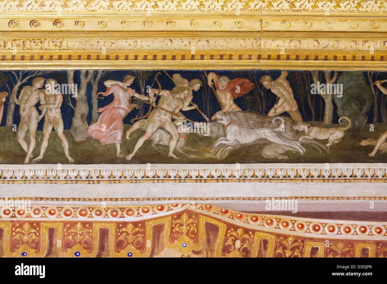 Prix de la Frise, par Baldassarre Peruzzi ,villa Farnesina, Rome, Italie, Europe Banque D'Images
