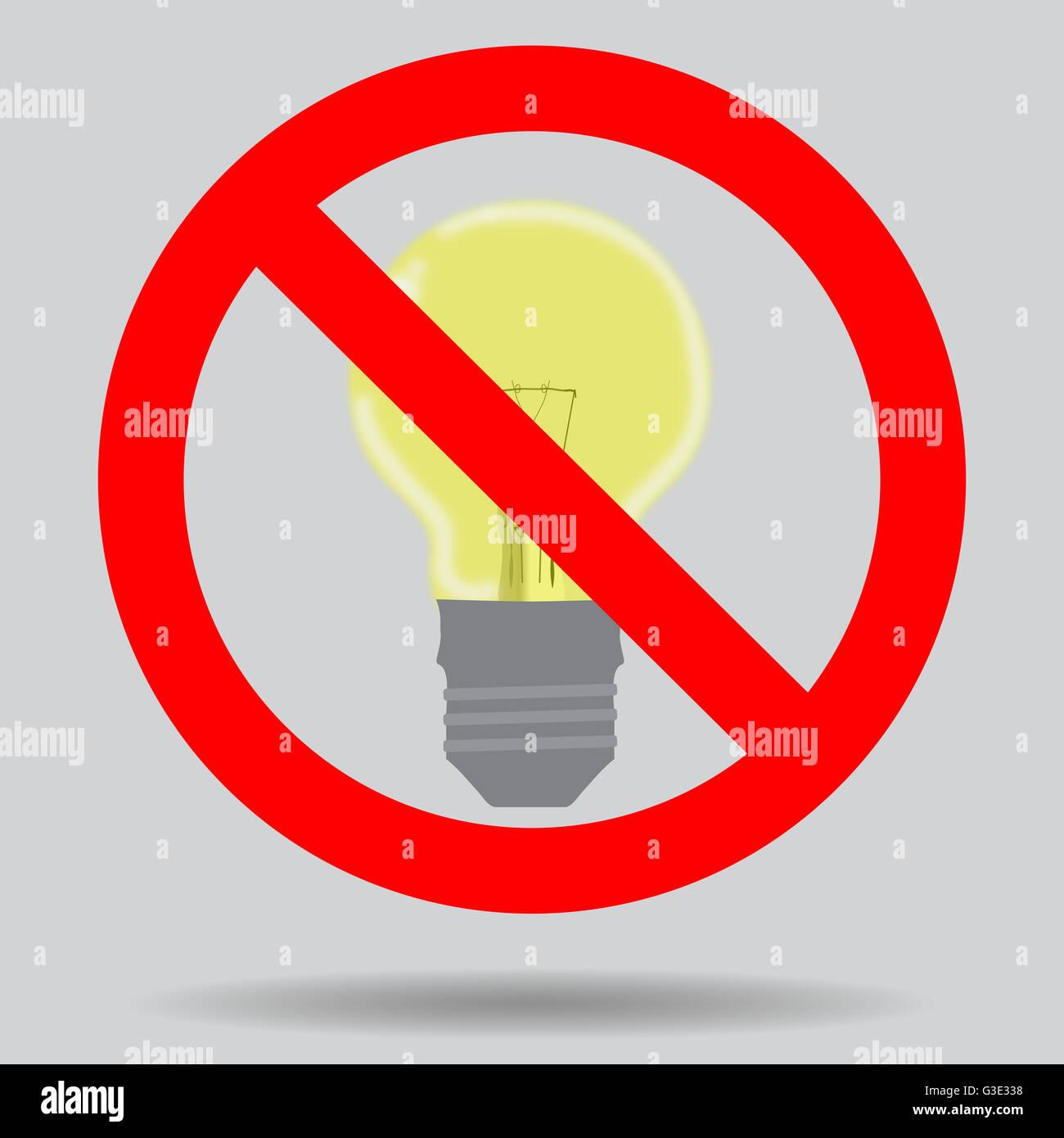 inscrivez vous teindre la lumi re pour conomiser de l 39 lectricit interdiction d 39 illustration. Black Bedroom Furniture Sets. Home Design Ideas