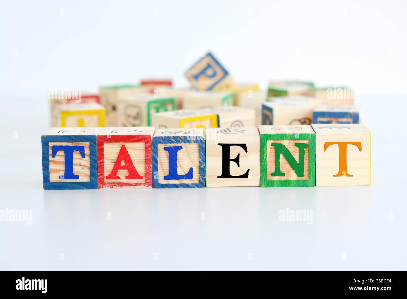 """Le mot """"talent"""" écrit avec des lettres Photo Stock"""