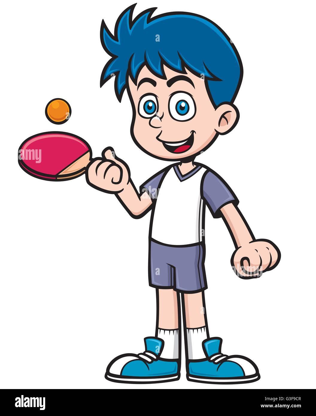 Vector illustration de joueur de tennis de table de dessin - Dessin tennis de table ...