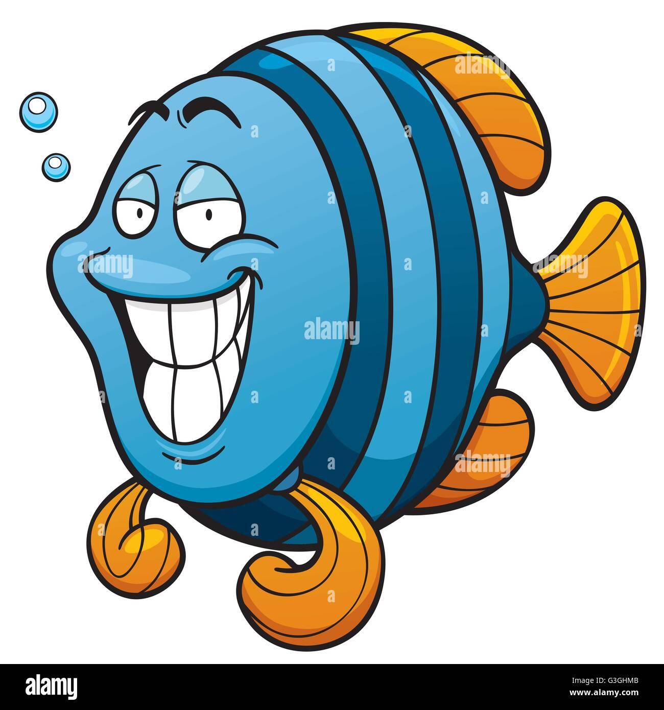 Vector illustration de poisson dessin anim vecteurs et - Poisson marrant ...
