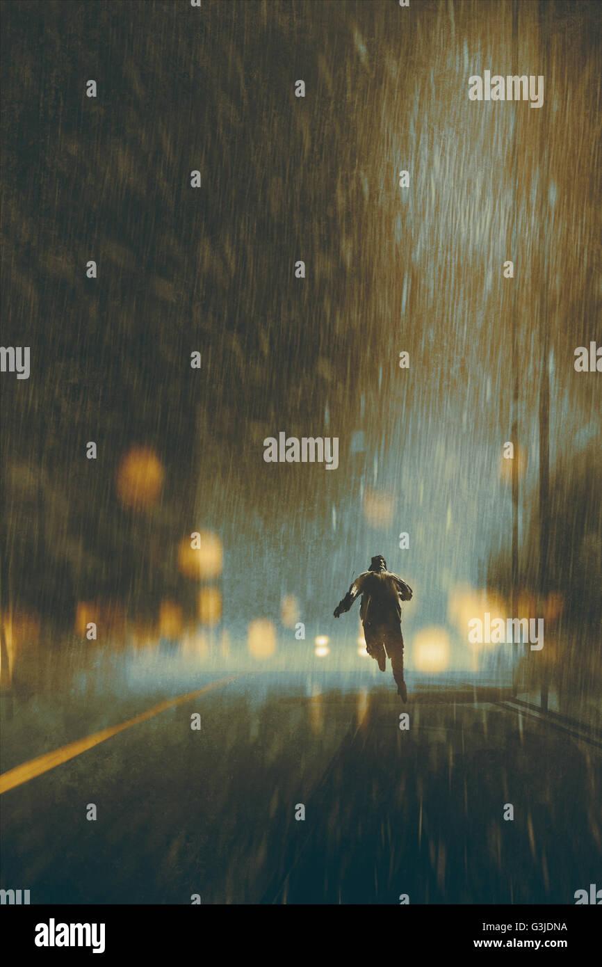 Homme qui court dans une nuit pluvieuse,illustration Photo Stock