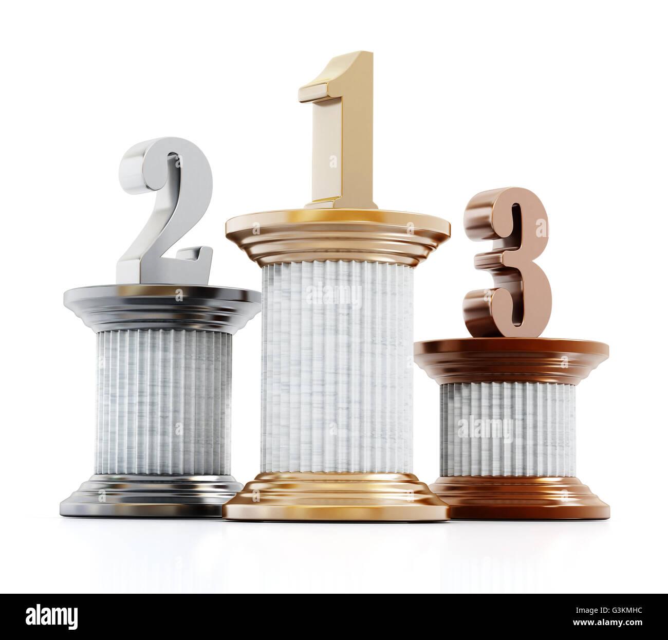 Piliers avec un, deux et trois chiffres. 3D illustration. Photo Stock