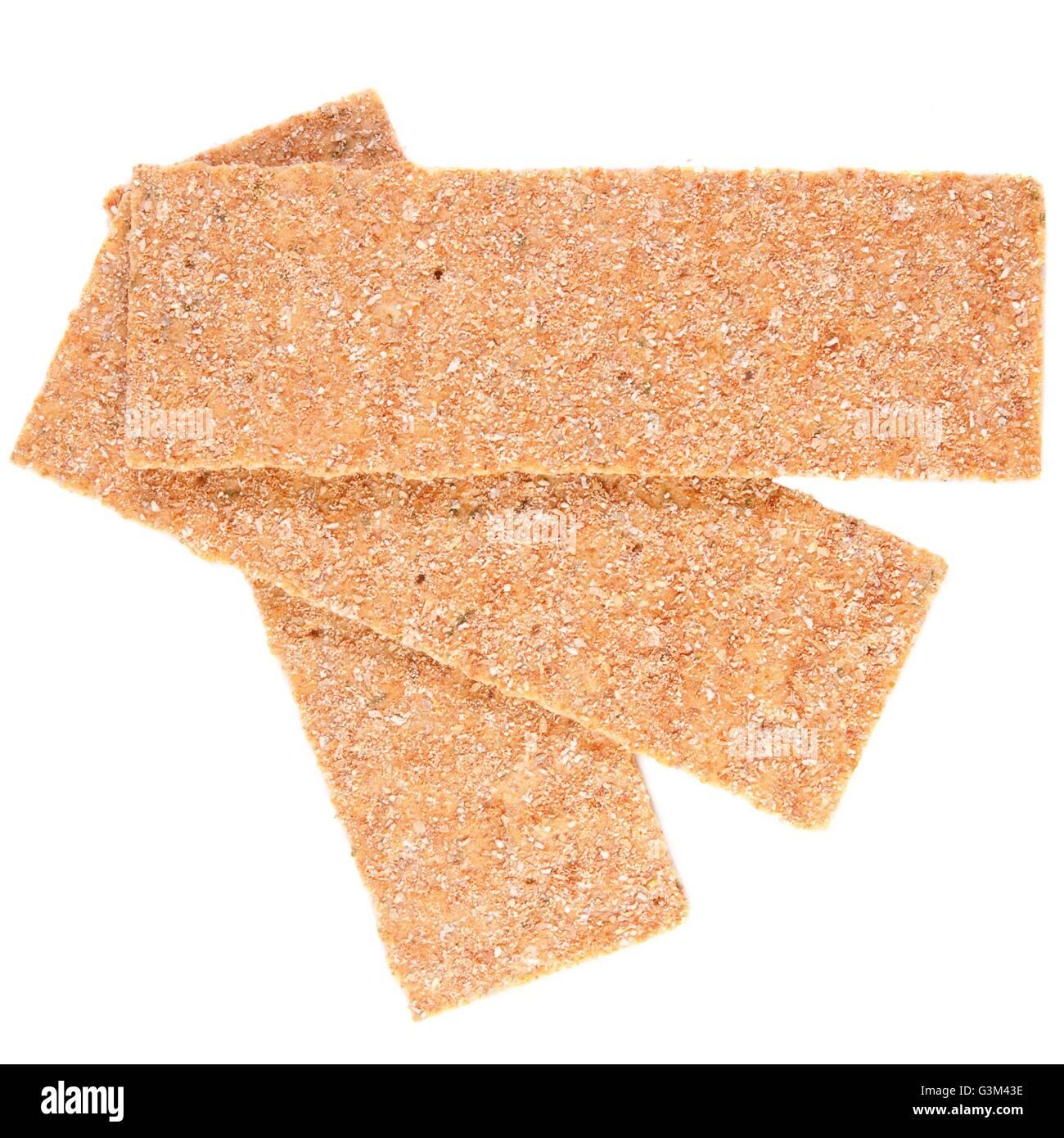 Tranches de pain croustillant calorique faible isolated on white Photo Stock
