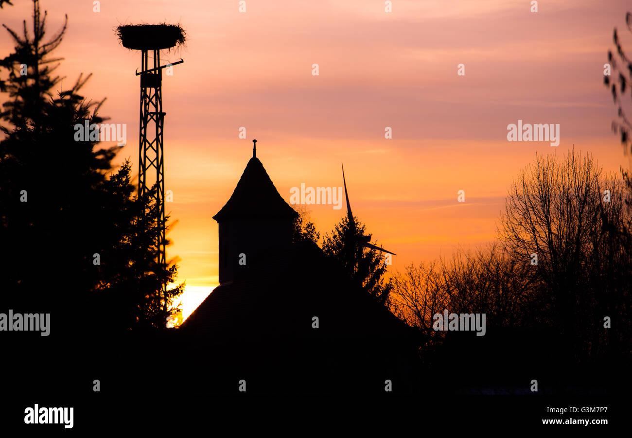 Nid de cigognes dans le coucher du soleil la lumière dans village Banque D'Images