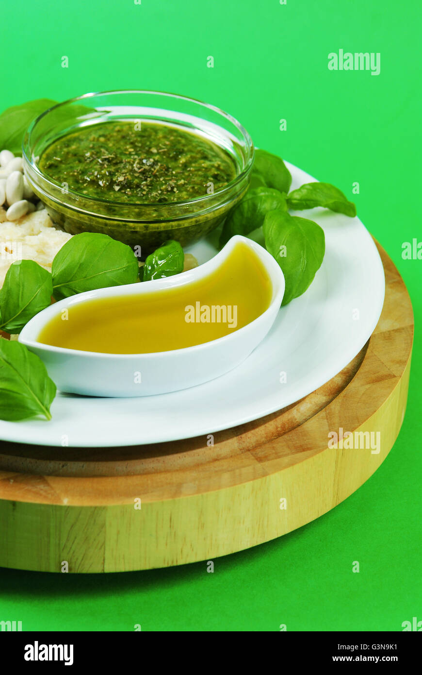 L'Europe, Italie, Ligurie, Gênes, la gastronomie typique de la Ligurie italienne Pesto Photo Stock
