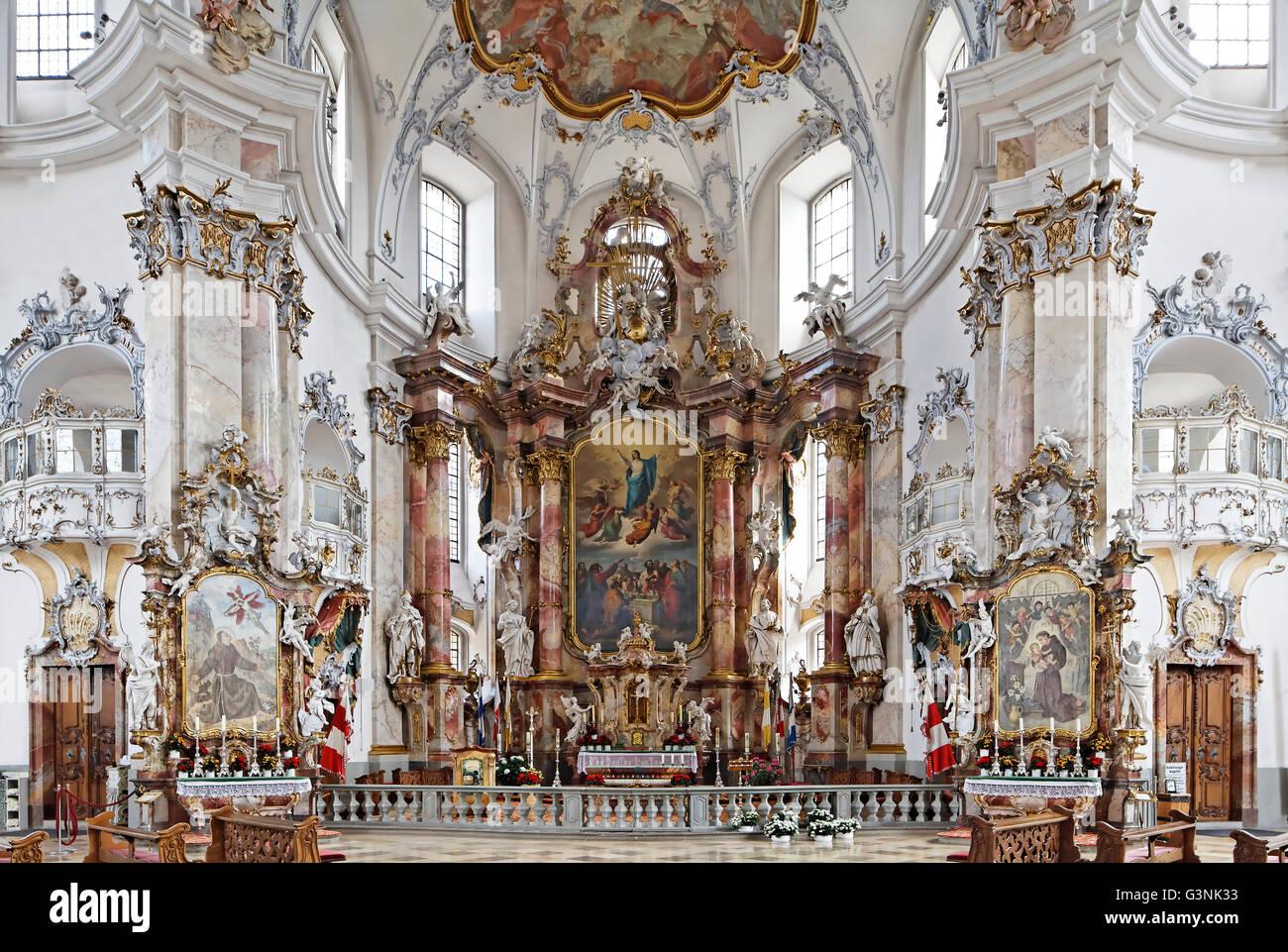 Chancel, baroque, église de pèlerinage de la Basilique Sainte 14 Aides, Bad Staffelstein, Haute-Franconie, Photo Stock