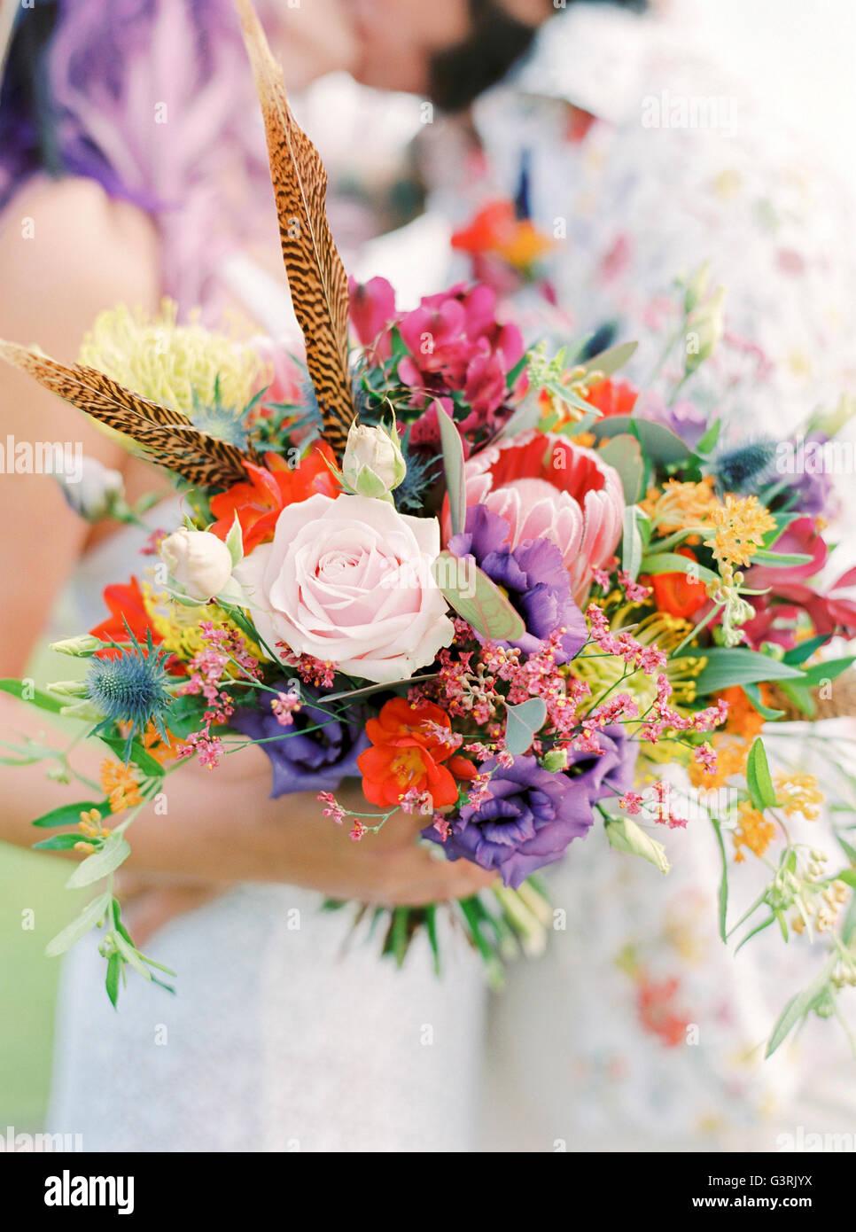 La Suède, près de mariage hippie au bouquet Banque D'Images
